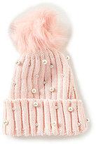 Copper Key Pom Pearl-Embellished Beanie Hat