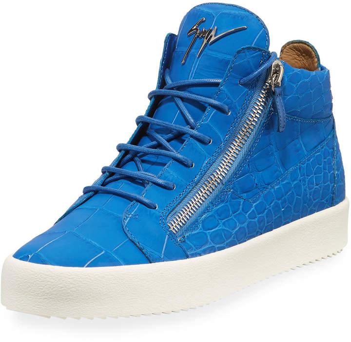 Giuseppe Zanotti Men's Crocodile-Embossed Leather Mid-Top Sneakers