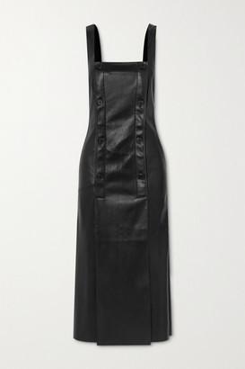 Nanushka Allie Button-detailed Vegan Stretch-leather Dress - Black