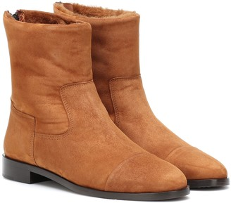 Bougeotte Shearling-lined suede ankle boots