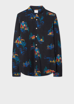 Paul Smith Men's Tailored-Fit Black 'UFO Highway' Print Lyocell Shirt