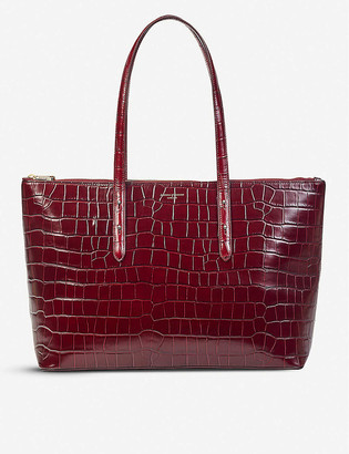 Aspinal of London Zipped Regent croc-embossed leather tote bag