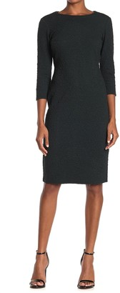 T Tahari Textured 3/4 Sleeve Sheath Dress