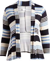 Glam Blue & Beige Stripe Open Cardigan - Plus