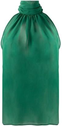 Jejia Sheer Halterneck Silk Blouse