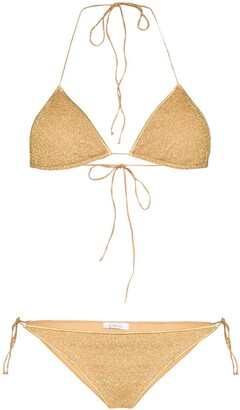 Oseree Lumiere metallic triangle-cup bikini set