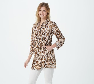 Susan Graver Petite Printed Stretch Woven BF Duster w/Chest Pockets