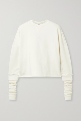The Range Contra Layered Cotton-blend Waffle-knit And Terry Sweatshirt - Cream