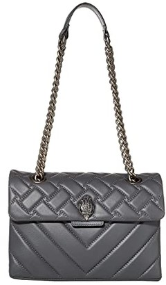 Kurt Geiger Leather Kensington Crossbody Bag (Grey) Cross Body Handbags