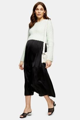 Topshop Womens **Maternity Black Plain Tiered Satin Skirt - Black