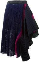 Sacai asymmetric ruffled skirt - women - Cotton/Polyester - 2
