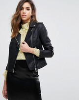 Miss Selfridge Leather Look Biker Jacket