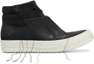 Rick Owens Island Dunk Frayed Suede And Leather High-top Sneakers