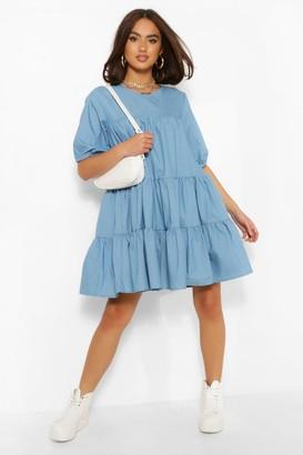 boohoo Chambray Tiered Smock Dress