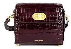Alexander McQueen Women's Croc-Embossed Leather Flap Box Bag