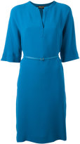 Loro Piana belted dress - women - Silk/Leather - M