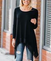 Amaryllis Women's Tunics Black - Black Lace-Trim Sidetail Tunic - Women & Plus
