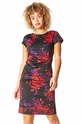 Roman Originals Women Floral Print Ruched Waist Scuba Dress - Ladies Going Out Evening Cocktail Party Special Occasion Wedding Guest Ascot Race Day Knee Length Formal Dresses - Red - Size 12