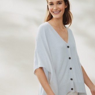 The White Company Button Through Cardigan with Cashmere, Pale Blue Marl, Medium