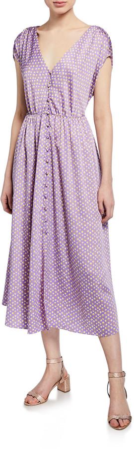 Kate Spade Geo Dot-Printed Short-Sleeve Satin Midi Dress