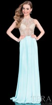 Terani Couture Illusion Jersey Beaded Prom Dress