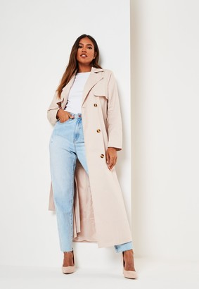 Missguided Stone Maxi Trench Coat