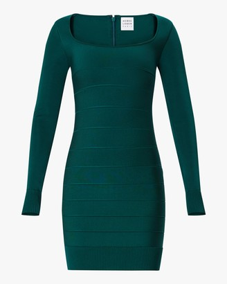Herve Leger Long-Sleeve Square Neck Mini Dress