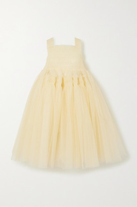Molly Goddard Jamila Oversized Shirred Tulle Dress - Cream