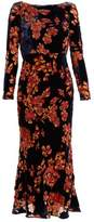 Saloni Tina boat-neck floral devoré dress
