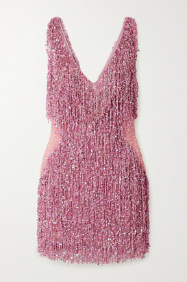 Naeem Khan Gatsby Embellished Chiffon Mini Dress - Pink
