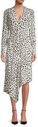 A.L.C. Eden Animal-Print Silk Asymmetric Dress
