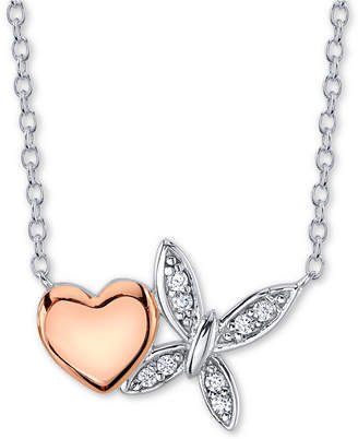 Unwritten Cubic Zirconia Heart & Butterfly Pendant Necklace in Sterling Silver & Rose Gold-Plate
