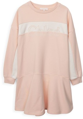 Chloé Little Girl's & Girl's Embroidered Logo Dress