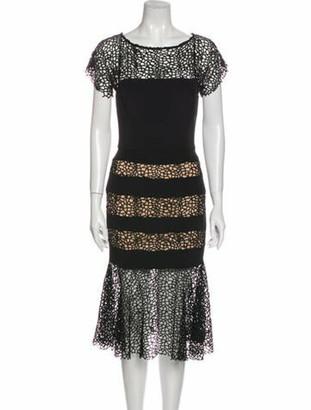 HANEY Lace Pattern Midi Length Dress Black