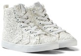 Hummel White Strada Sparkle Jr Trainers