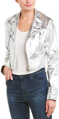 Jakett Erin Metallic Foil Leather Jacket