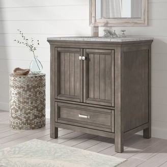 "Beachcrest Home Melgar 30"" Single Bathroom Vanity Base Only Finish: Distressed Gray"