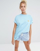 Lazy Oaf Oversized Boyfriend T-Shirt With Guinea Pig Embroidery