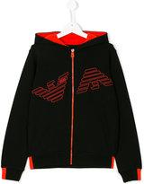Armani Junior logo zip hoodie