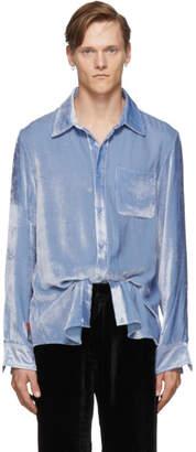 Sies Marjan Blue Silk Corduroy Sander Fluid Shirt