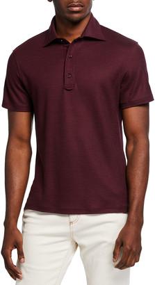 Isaia Men's Grand Pique Wool Polo Shirt