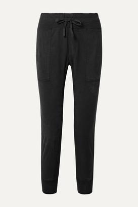 James Perse Jersey-trimmed Cotton-gabardine Track Pants - Black