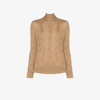 Prada Womens Brown Back Tie Cable Knit Mohair Jumper