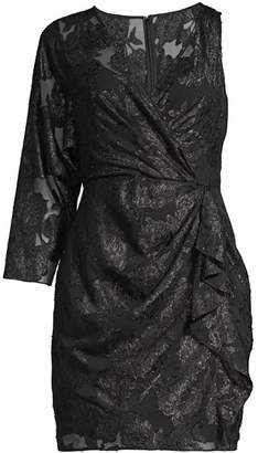 BCBGMAXAZRIA Asymmetric Metallic Jacquard Dress