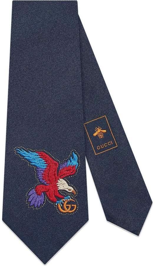 Gucci Eagle embroidered silk tie