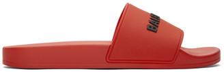 Balenciaga Red and Black Rubber Logo Pool Slides