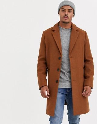 Asos Design DESIGN wool mix overcoat in tan-Red