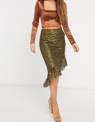 ELVI asymmetric sequin skirt in gold