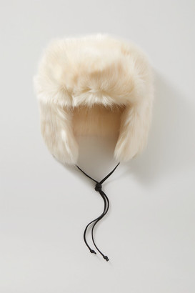 Eugenia Kim Owen Leather-trimmed Faux Fur Hat - White