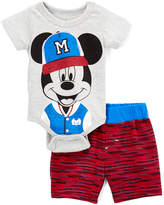 Children's Apparel Network Gray Mickey Mouse Bodysuit & Red Shorts - Infant